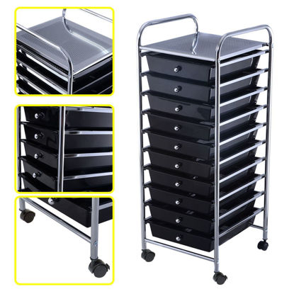 Picture of 10 Drawer Rolling Organizer Storage Cart Black