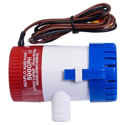 "Picture of 12V 2.0A 500 GPH Electric Bilge Pump Marine Boat Yacht Submersible 3/4"" Hose"