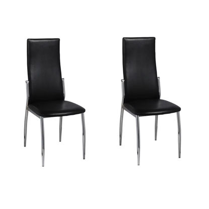Picture of 2 Dining chairs chrome black leather