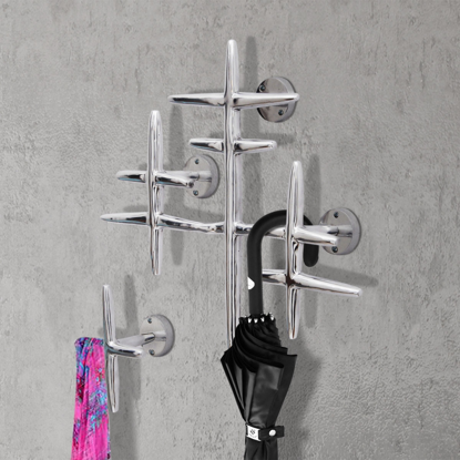 Picture of 2 Wall Mounted Clothes Hooks Set Coat Rack Hat Hanger Aluminum Silver