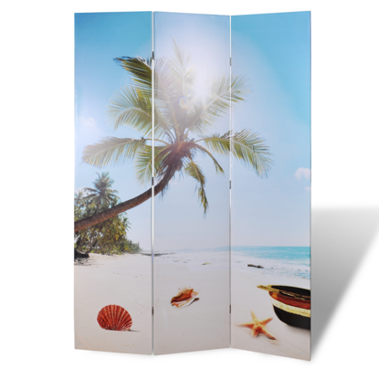 """Picture of 3-Panel Room Divider Folding Double Sided Screen Beach Print 47.2"""" x 70.9"""""""