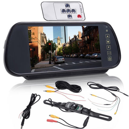 "Picture of 7"" LCD Screen Car Rear View Backup Parking Mirror Monitor + Camera Night Vision"