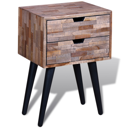 Picture of Bedroom Bedside Cabinet with 2 Drawers - Reclaimed Teak