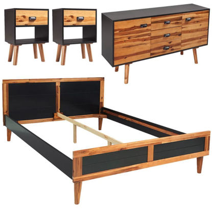 """Picture of Bedroom Furniture Set 70"""" - Solid Acacia Wood 4pc"""