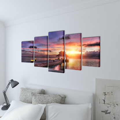 "Picture of Canvas Wall Print Set Beach with Pavilion 39"" x 20"""