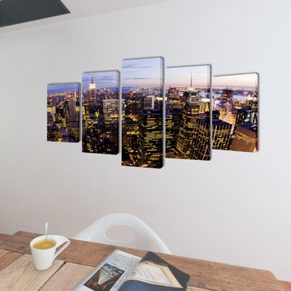 "Picture of Canvas Wall Print Set Birds Eye View of New York Skyline 79"" x 39"""