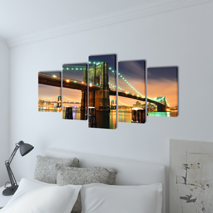 "Picture of Canvas Wall Print Set Brooklyn Bridge 79"" x 39"""