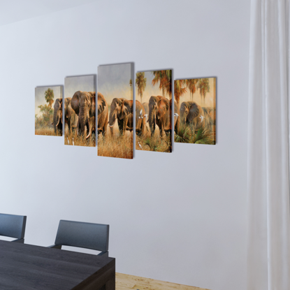 "Picture of Canvas Wall Print Set Elephants 39"" x 20"""