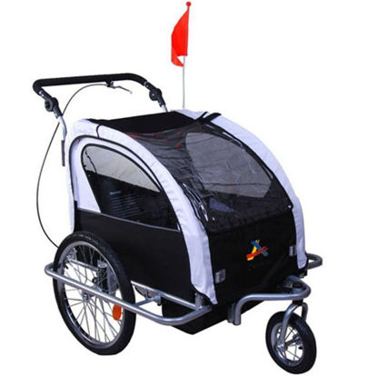 Picture of Child Double Stroller and Bike Trailer 3 in 1 - Black / White