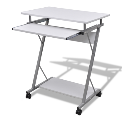 Picture of Computer Desk Pull Out Tray White Furniture Office Student Table