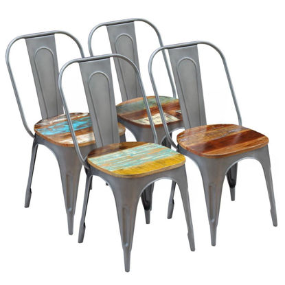 "Picture of Dining Chairs 4 pcs Solid Reclaimed Wood 18.5""x20.5""x35"""