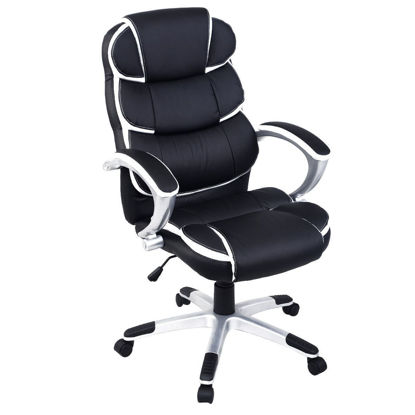 Picture of Executive Computer Desk Office Chair Ergonomic PU Leather Black