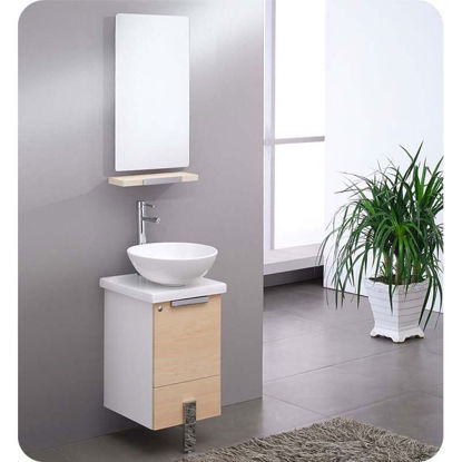 "Picture of Fresca Adour 16"" Light Walnut Modern Bathroom Vanity with Mirror"