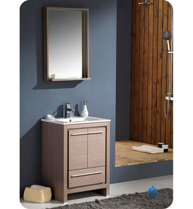 "Picture of Fresca Allier 24"" Gray Oak Modern Bathroom Vanity with Mirror"