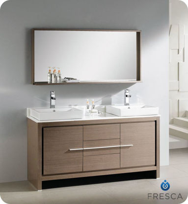 "Picture of Fresca Allier 60"" Gray Oak Modern Double Sink Bathroom Vanity w/ Mirror"