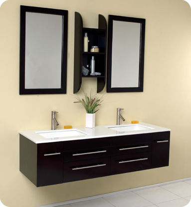 "Picture of Fresca Bellezza 59"" Espresso Modern Double Sink Bathroom Vanity"