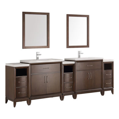 "Picture of Fresca Cambridge 96"" Antique Coffee Double Sink Traditional Bathroom Vanity w/ Mirrors"