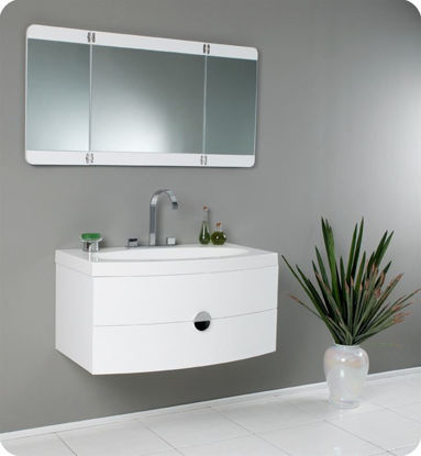 "Picture of Fresca Energia 36"" White Modern Bathroom Vanity with Three Panel Folding Mirror"
