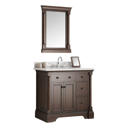 "Picture of Fresca Kingston 37"" Antique Coffee Traditional Bathroom Vanity w/ Mirror"