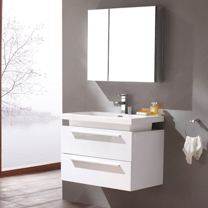 "Picture of Fresca Medio 32"" White Modern Bathroom Vanity with Medicine Cabinet"