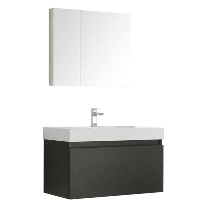 "Picture of Fresca Mezzo 36"" Black Wall Hung Modern Bathroom Vanity with Medicine Cabinet"