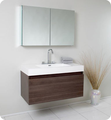 Picture of Fresca Mezzo Modern Bathroom Vanity with Medicine Cabinet in Gray Oak