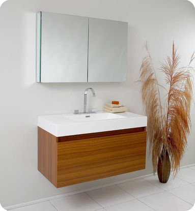 Picture of Fresca Mezzo Modern Bathroom Vanity with Medicine Cabinet in Teak
