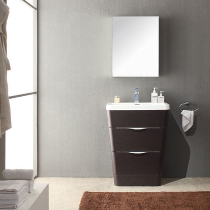 "Picture of Fresca Milano 26"" Modern Bathroom Vanity in a Chestnut Finish with Medicine Cabinet and Faucet"
