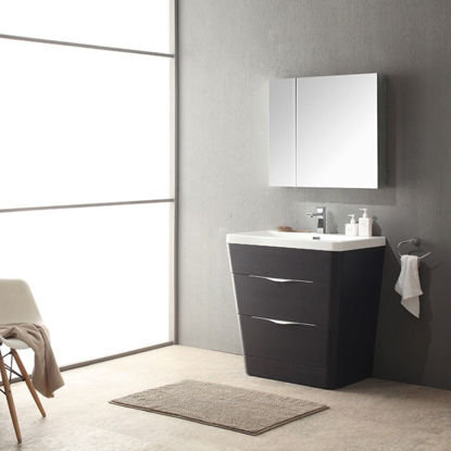 "Picture of Fresca Milano 32"" Modern Bathroom Vanity in a Chestnut Finish with Medicine Cabinet and Faucet"