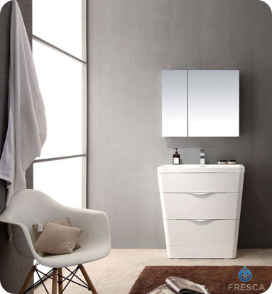 "Picture of Fresca Milano 32"" Modern Bathroom Vanity in a Glossy White Finish with Medicine Cabinet and Faucet"