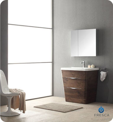 "Picture of Fresca Milano 32"" Modern Bathroom Vanity in a Rosewood Finish with Medicine Cabinet and Faucet"