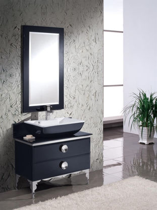 "Picture of Fresca Moselle 36"" Modern Bathroom Vanity in Black with Glass Countertop and Mirror"