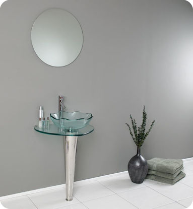 """Picture of Fresca Netto 24"""" Modern Glass Bathroom Vanity with Wavy Edge Vessel Sink"""