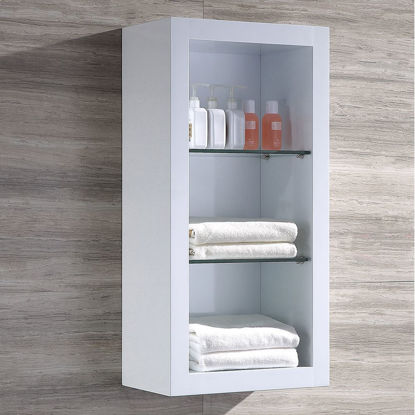 Picture of Fresca White Bathroom Linen Side Cabinet w/ 2 Glass Shelves