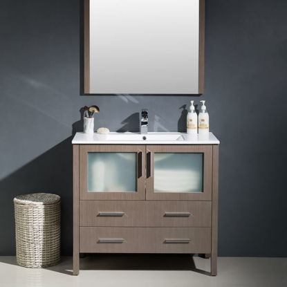 "Picture of Fresca Torino 36"" Gray Oak Modern Bathroom Vanity with Integrated Sink"