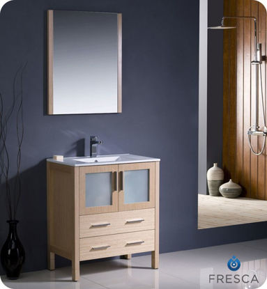 "Picture of Fresca Torino 36"" Light Oak Modern Bathroom Vanity w/ Integrated Sink"