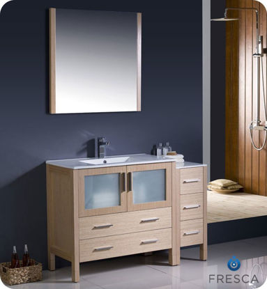 "Picture of Fresca Torino 48"" Light Oak Modern Bathroom Vanity w/ Side Cabinet & Integrated Sink"