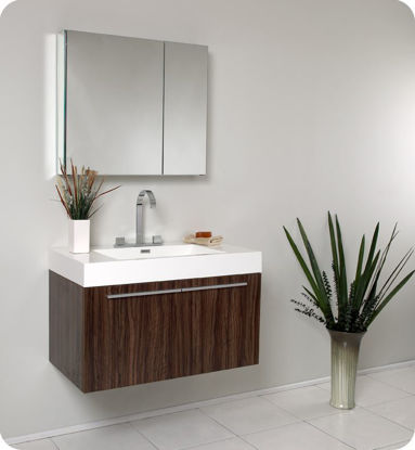 Picture of Fresca Vista Walnut Modern Bathroom Vanity w/ Medicine Cabinet