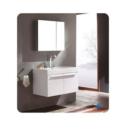Picture of Fresca Vista White Modern Bathroom Vanity w/ Medicine Cabinet
