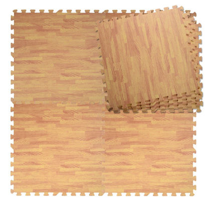 Picture of Interlocking Foam Flooring Tiles Mats EVA 48 Sq Ft Wood Color