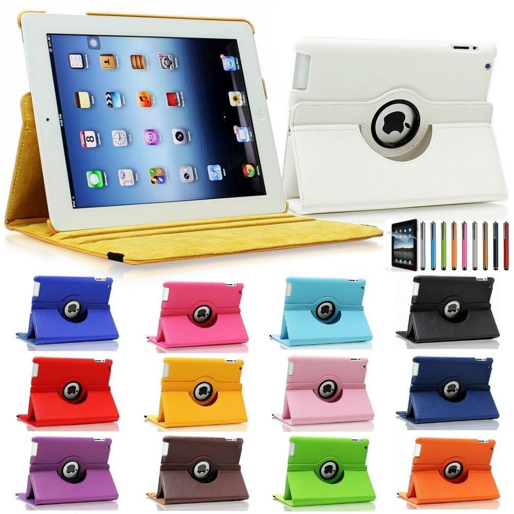 Picture of iPad 2 iPad 3 iPad 4 360 Rotating PU Leather Case Smart Cover Stand