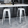 Picture of Kitchen Bar Chair Stools Square - 2 pcs White