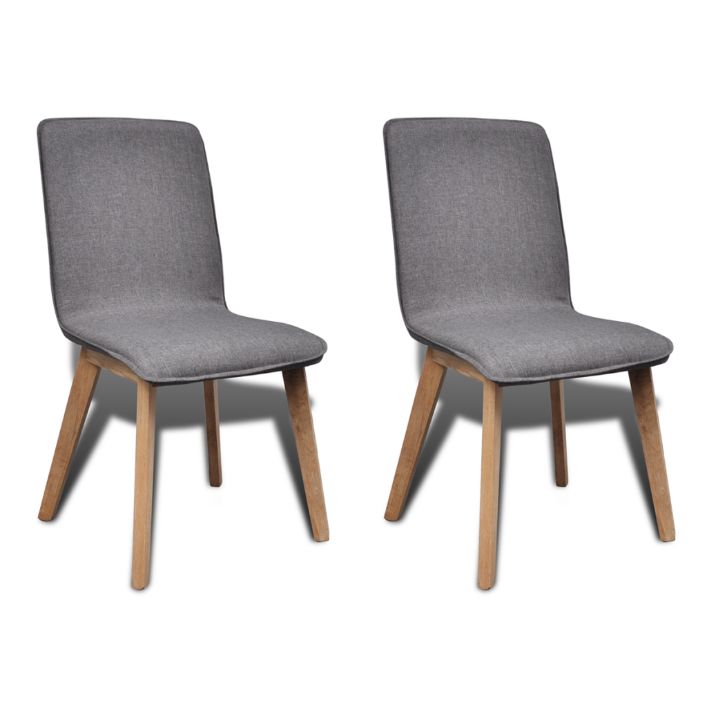 Picture of Kitchen Dining Chairs Fabric Oak - 2 pcs Dark Gray