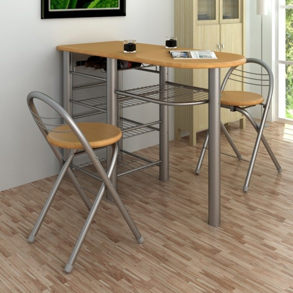Picture of Kitchen Dining Table and Chairs Set Breakfast Bar - Wood