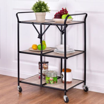 Picture of Kitchen Trolley Cart Rolling Dining Trolley 3 Tier