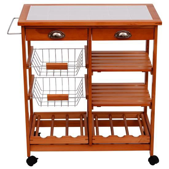 """Picture of Kitchen Trolley Cart with Wine Rack - 30"""""""