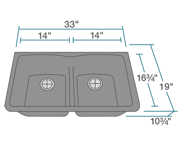 Picture of Kitchen Undermount Sink Double Equal Bowl Low-Divide - AstraGranite