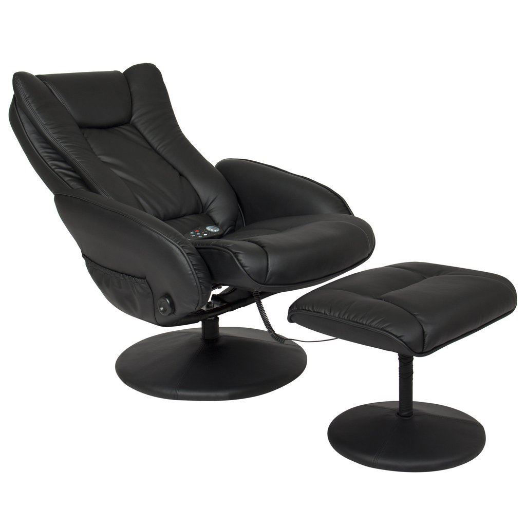 Picture of Leather Massage Recliner and Ottoman Set with Double Padding and Remote Black