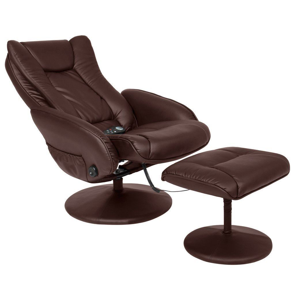 Picture of Leather Massage Recliner and Ottoman Set with Double Padding and Remote Brown