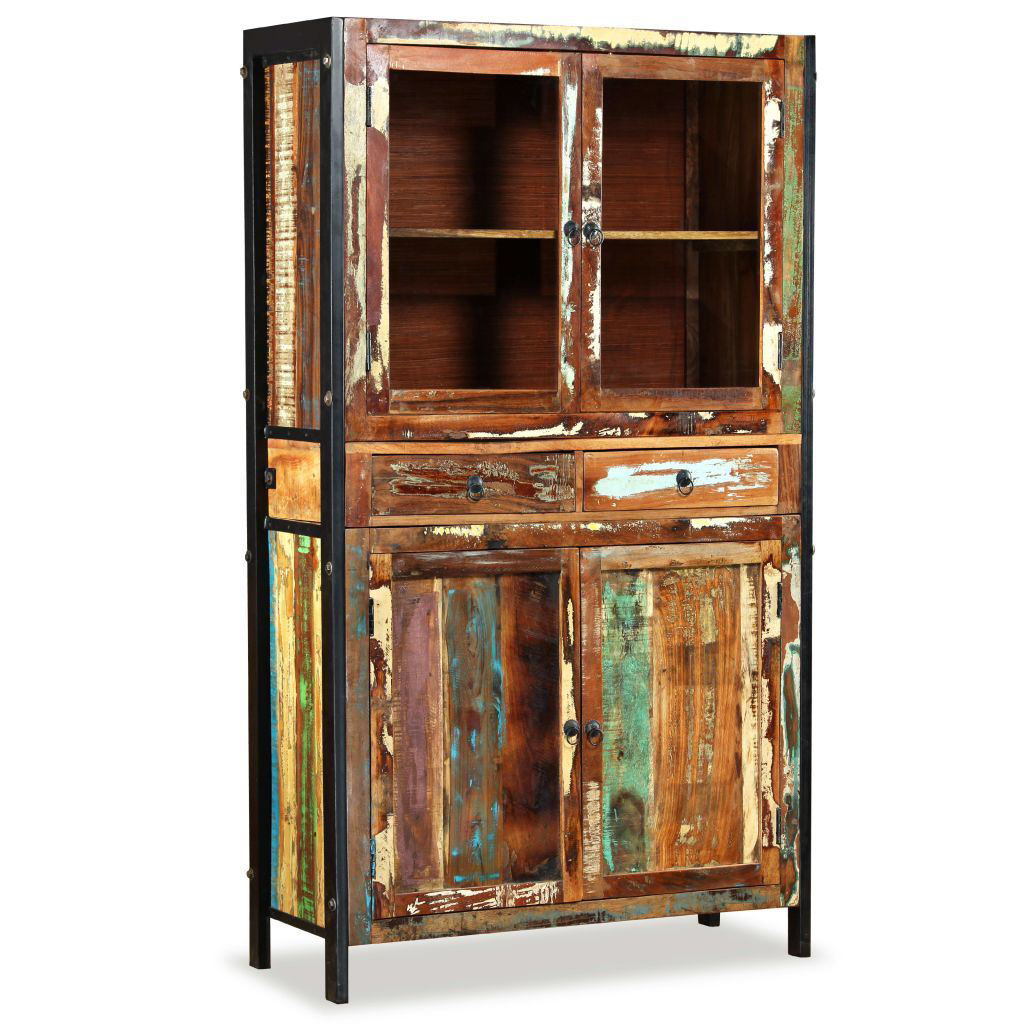 Picture of Living Room Antique-Style Highboard - Solid Reclaimed Wood